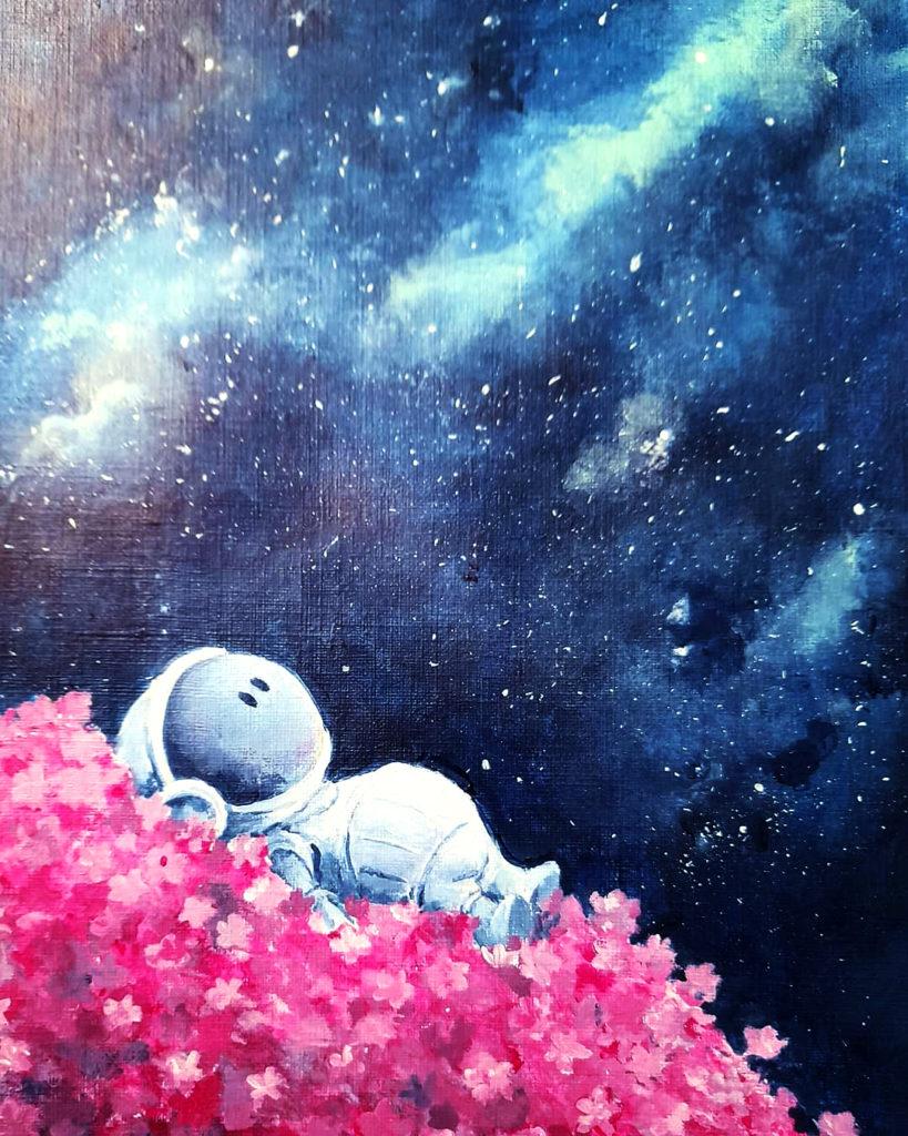 peinture acrylique sur papier- cosmo flower #1