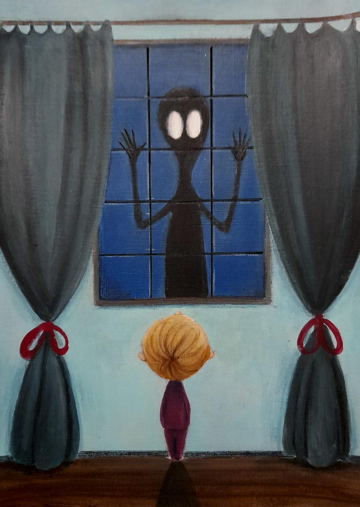 illustration enfant acrylique monstre fenetre