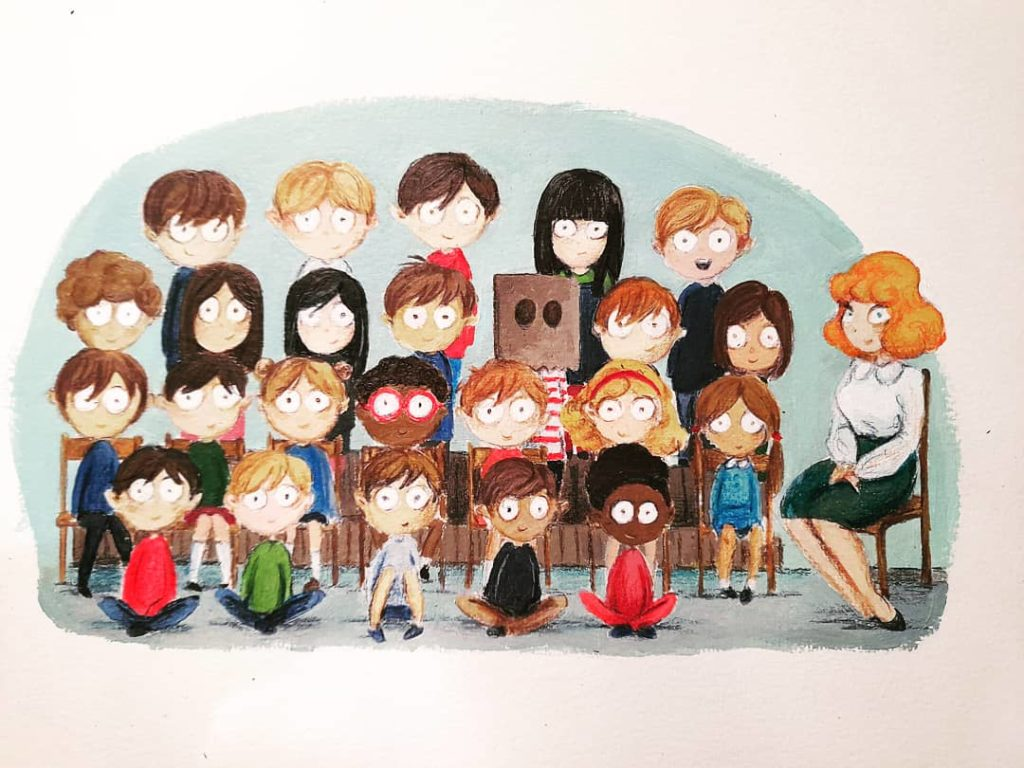 illustration acrylique enfant photo de classe