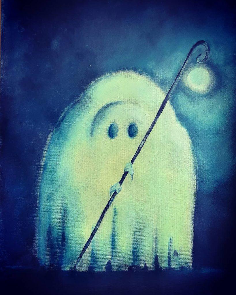 Illustration enfant fantome spectre cauchemar acrylique