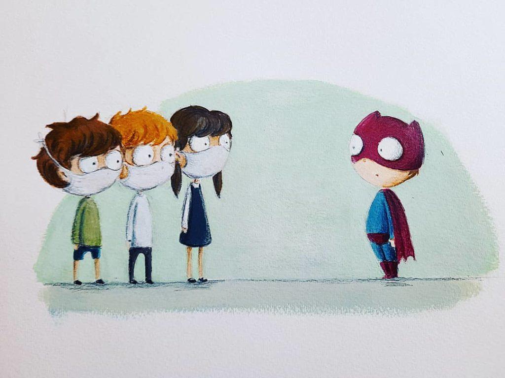 Illustration enfant acrylique masque