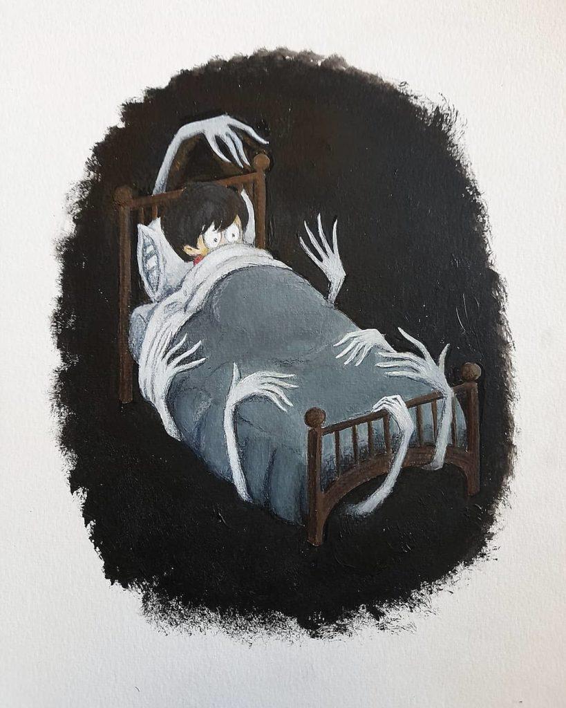 illustration acrylique enfant cauchemar monstre