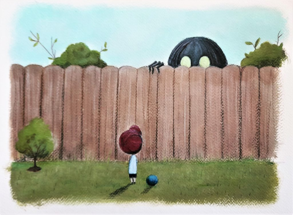 over the garden wall illustration enfant acrylique monstre derrière le mur du jardin