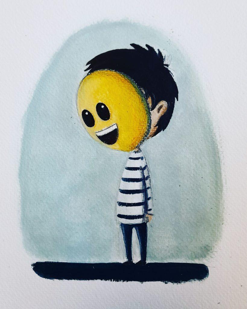 illustration acrylique enfant - smile