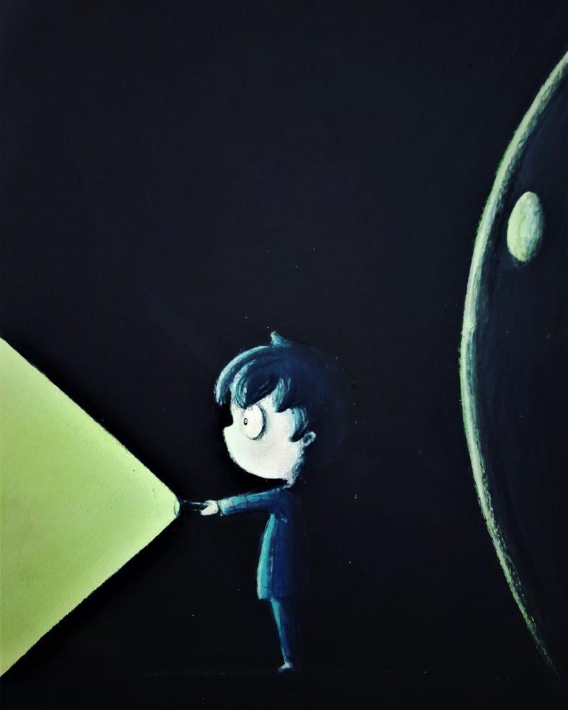 Illustration enfant acrylique, monstre caché dans le noir