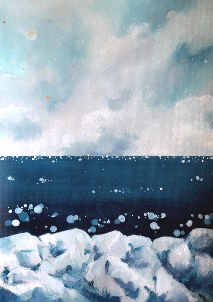 paysage bord de mer acrylique