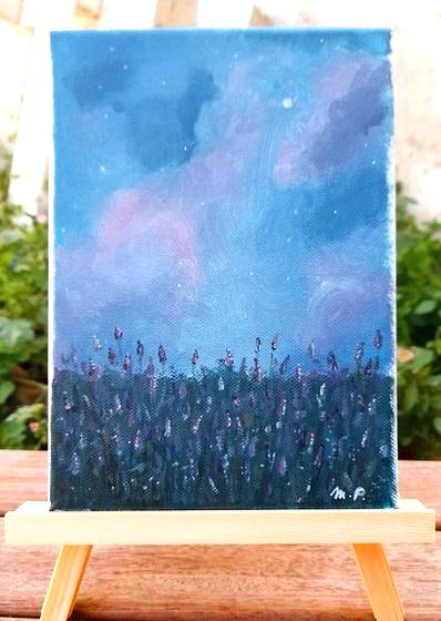 Paysage champs de fleurs ciel étoilé acrylique sur toile