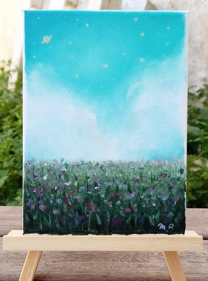 Paysage champs de fleurs ciel étoilé acrylique sur toile.