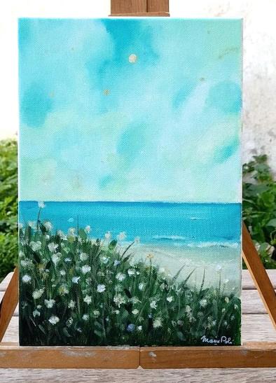 Paysage bord de mer ciel étoilé acrylique sur toile