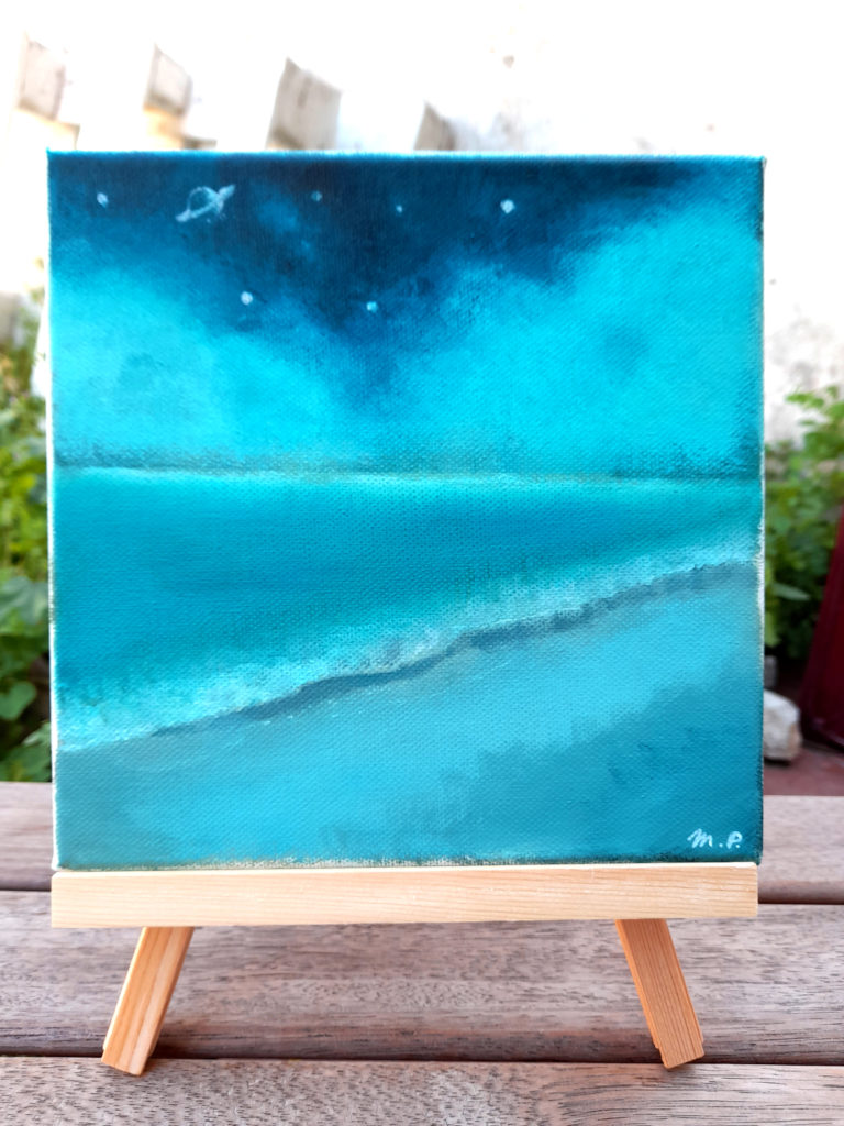 Paysage mer et ciel d'orage format carré acrylique sur toile.