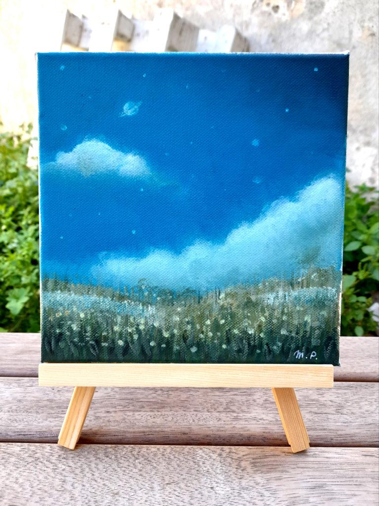 Paysage champs de fleurs ciel étoilé format carré acrylique sur toile