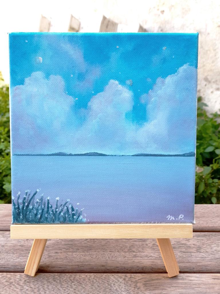 Paysage mer et nuages format carré acrylique sur toile.